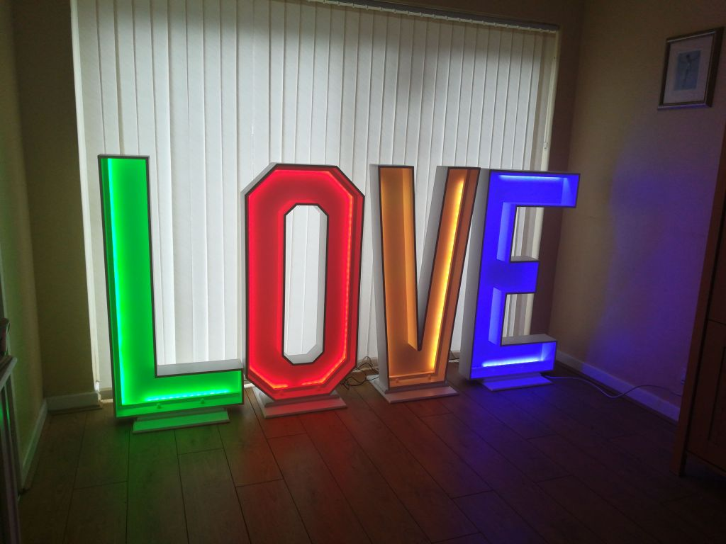 LOVE sign for hire for weddings in the midlands